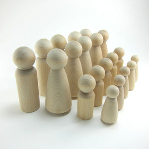 20 Peg Doll Set Unfinished Wood - Snuggly Monkey