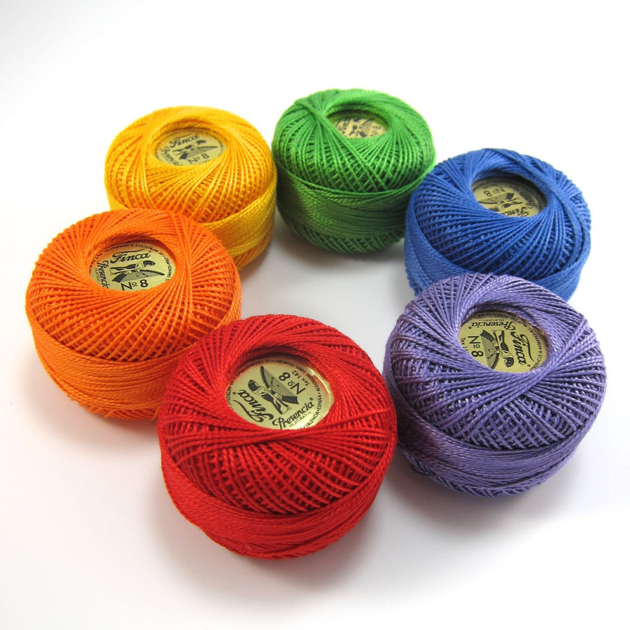Rainbow Pearl Cotton Thread Set (Size 8)