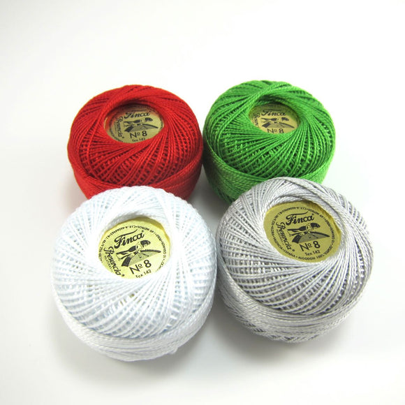 Christams Pearl Cotton Thread Set - Size 8 Presencia Finca Perle Cotton