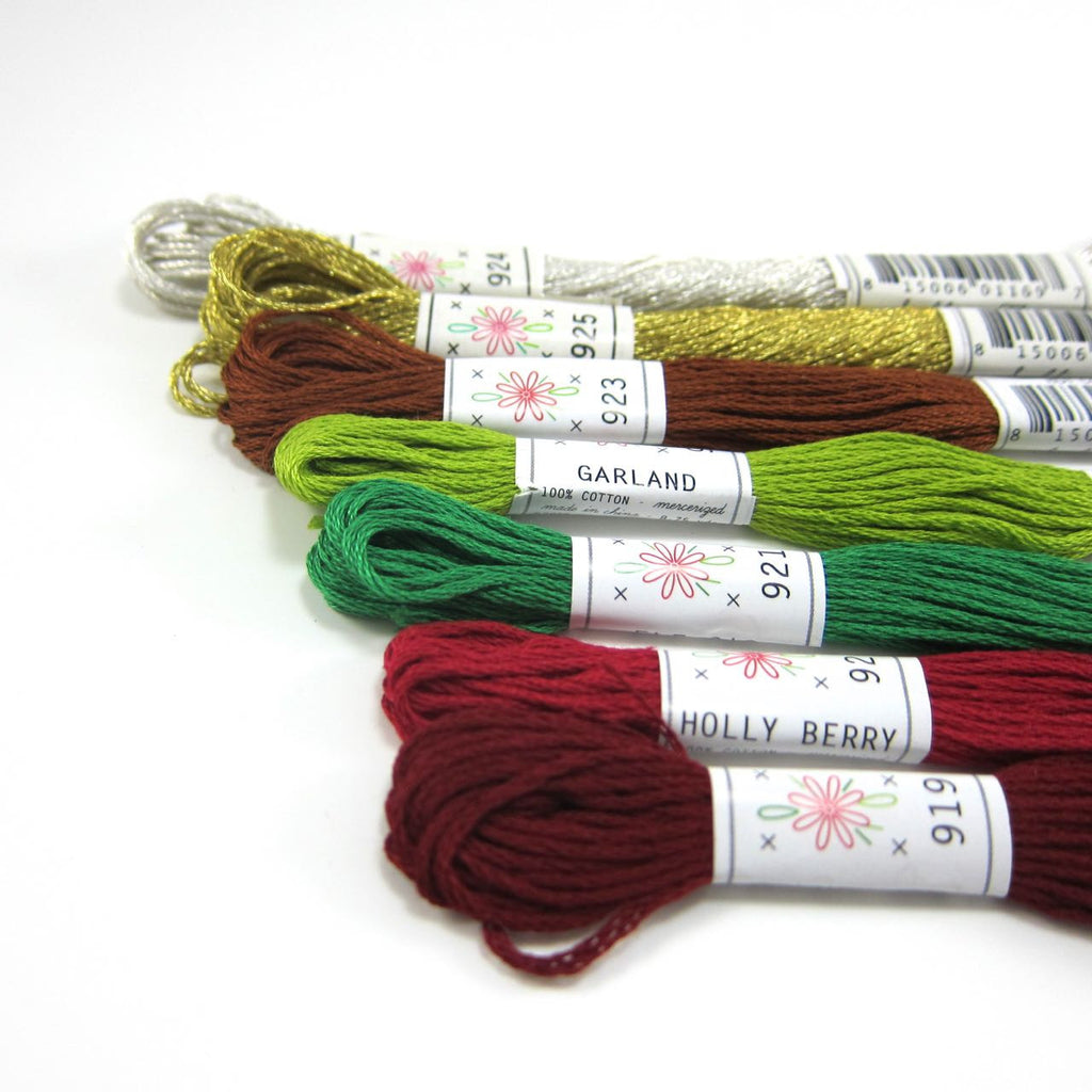 Christmas Embroidery Floss Set - 7 Skeins Christmas Tree Palette