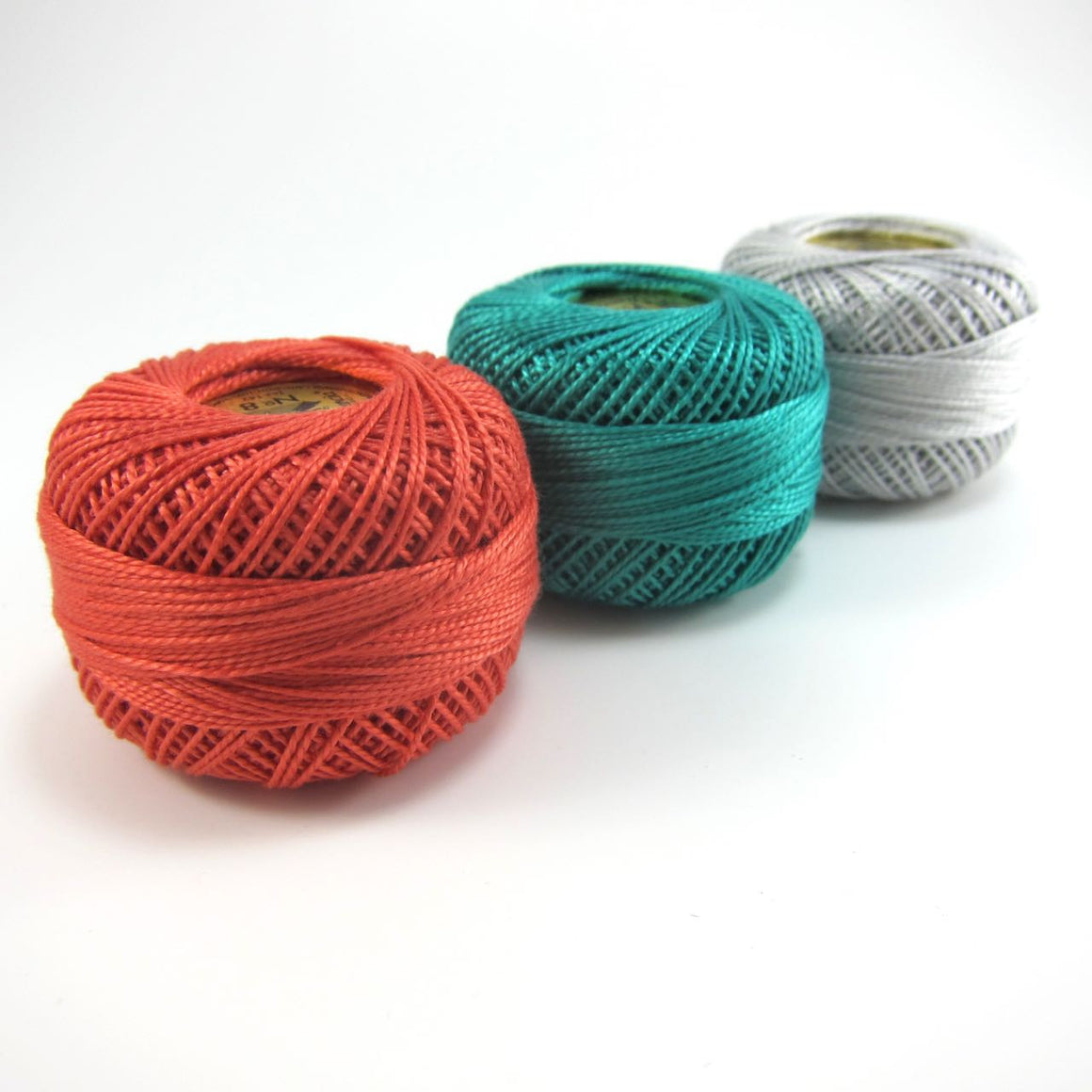 Teal, Coral & Gray Finca Perle Cotton Thread Set