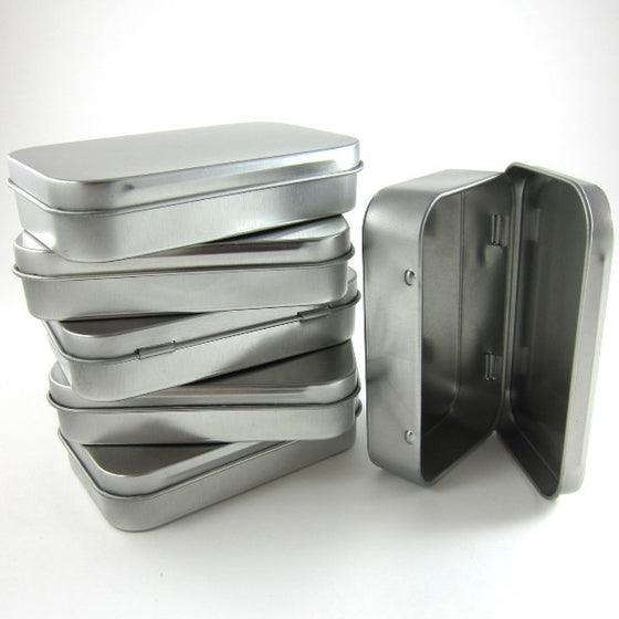 steel metal tins hinged rectangular gift boxes