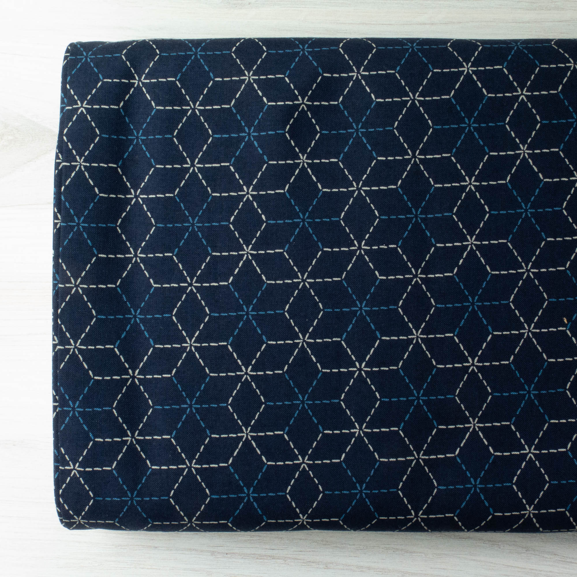Sevenberry Kasuri : Navy and White Sashiko Fabric - Snuggly Monkey