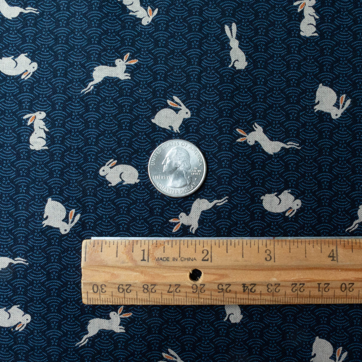 Sevenberry Kasuri : Bunnies on Navy Waves Fabric - Snuggly Monkey