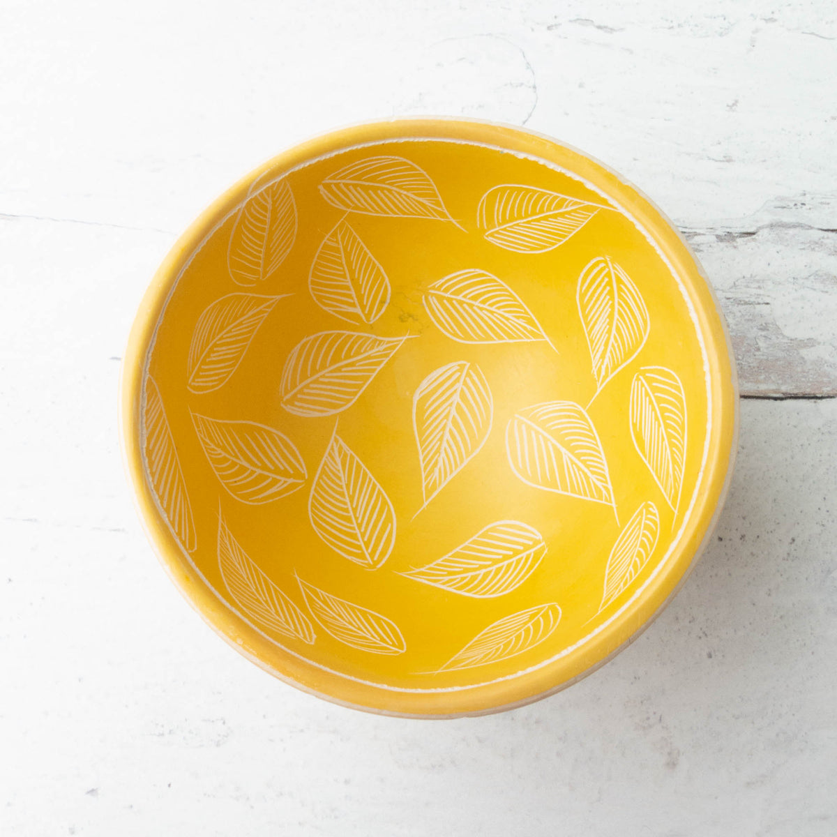 Two Pattern Stone Pin Bowls - Yellow