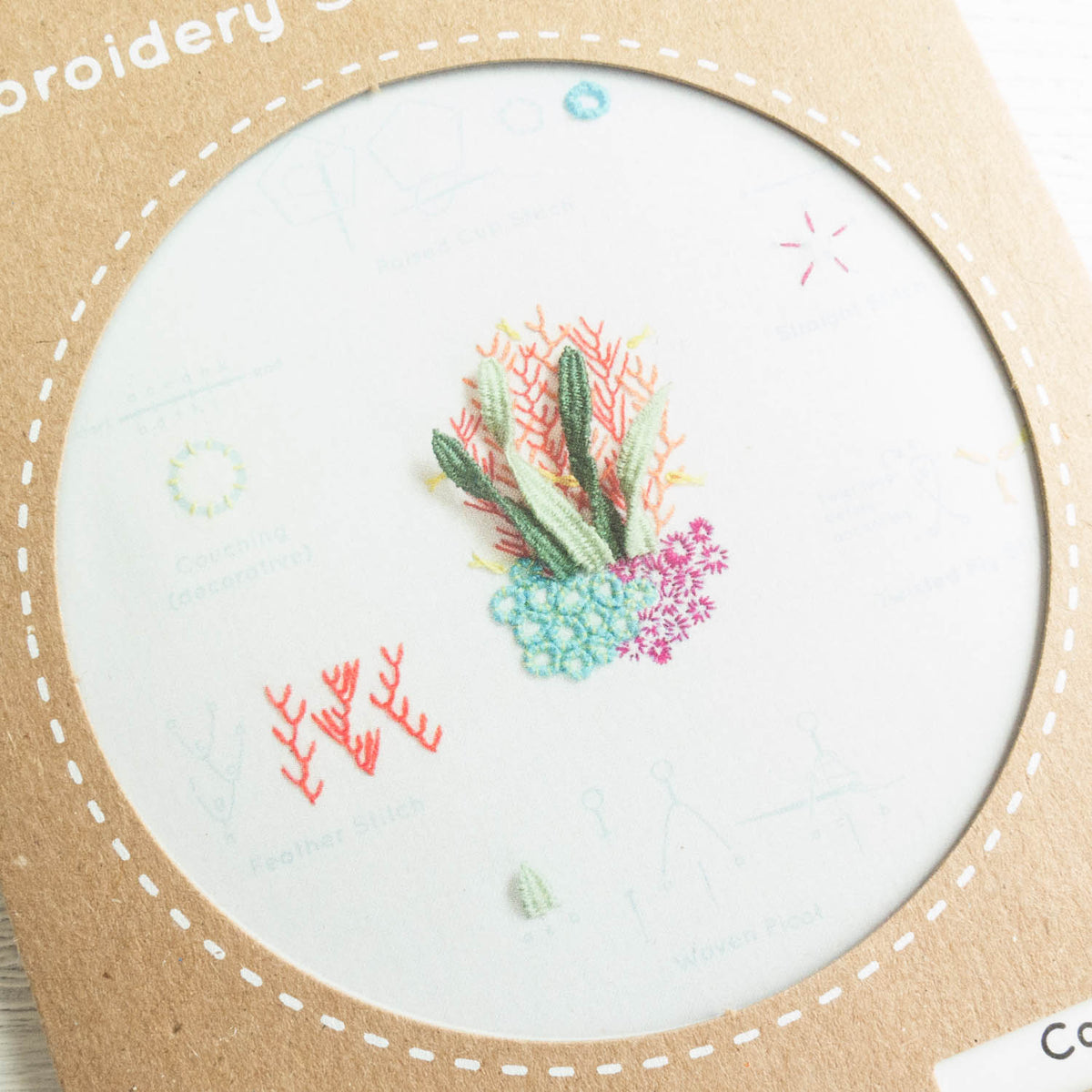 Kiriki Press Embroidery Stitch Sampler - Coral Reef Embroidery Kit - Snuggly Monkey
