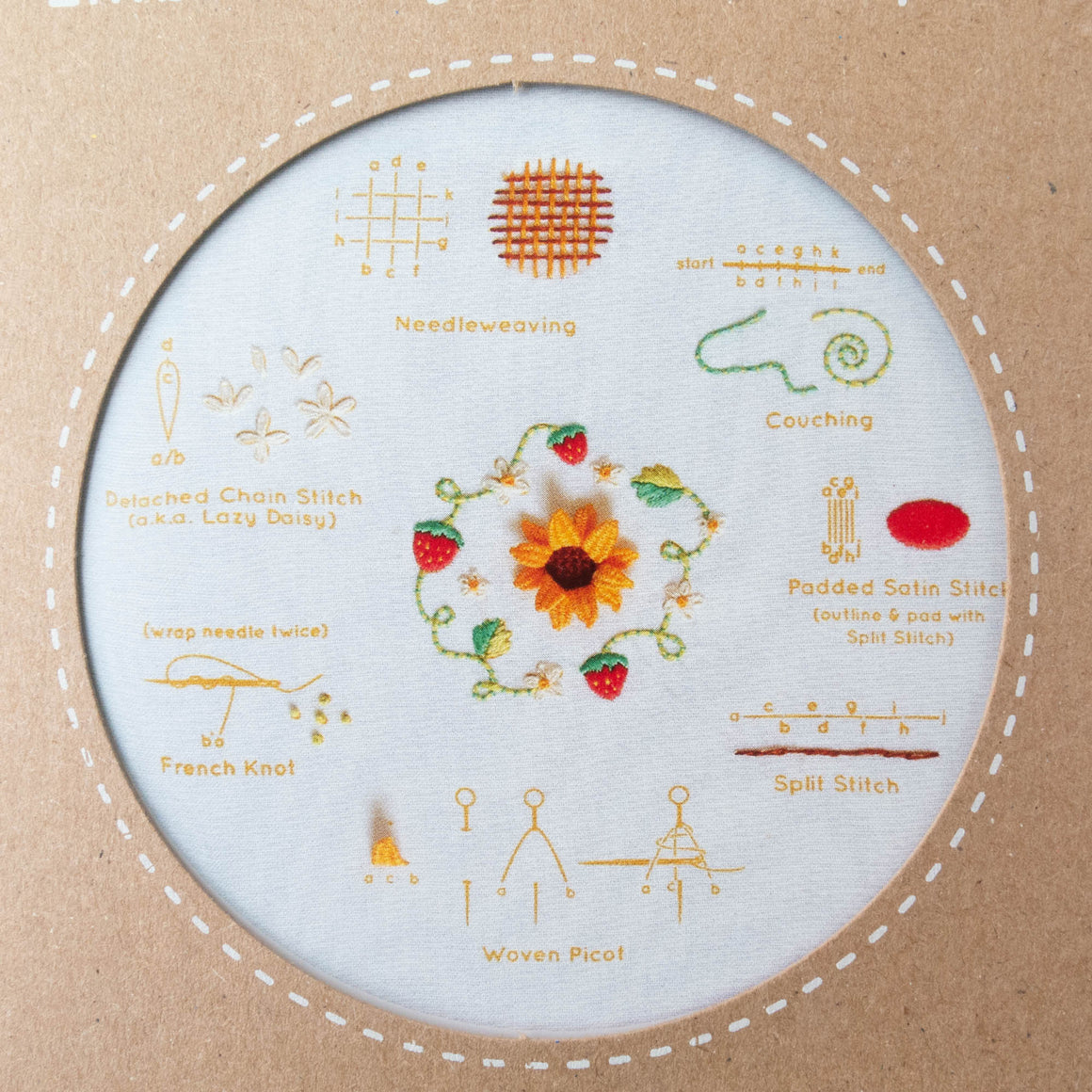 Kiriki Press Embroidery Stitch Sampler - Summer Embroidery Kit - Snuggly Monkey