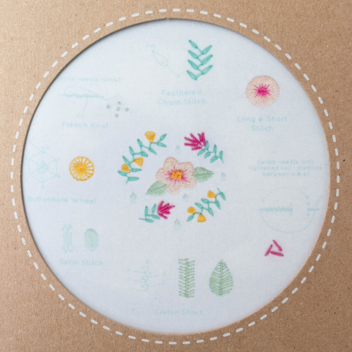 Kiriki Press Embroidery Stitch Sampler - Spring Embroidery Kit - Snuggly Monkey