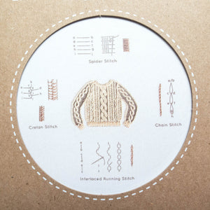 Kiriki Press Embroidery Stitch Sampler - Knit Sweater Embroidery Kit - Snuggly Monkey