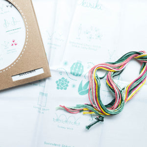 Kiriki Press Embroidery Stitch Sampler - Succulent Embroidery Kit - Snuggly Monkey