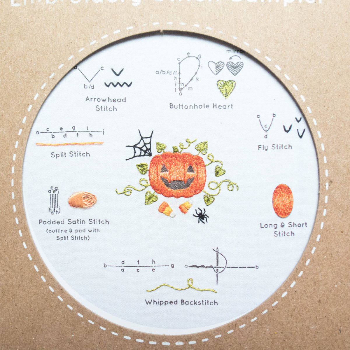 Kiriki Press Embroidery Stitch Sampler - Halloween Embroidery Kit - Snuggly Monkey