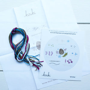 Kiriki Press Embroidery Stitch Sampler - Winter Embroidery Kit - Snuggly Monkey