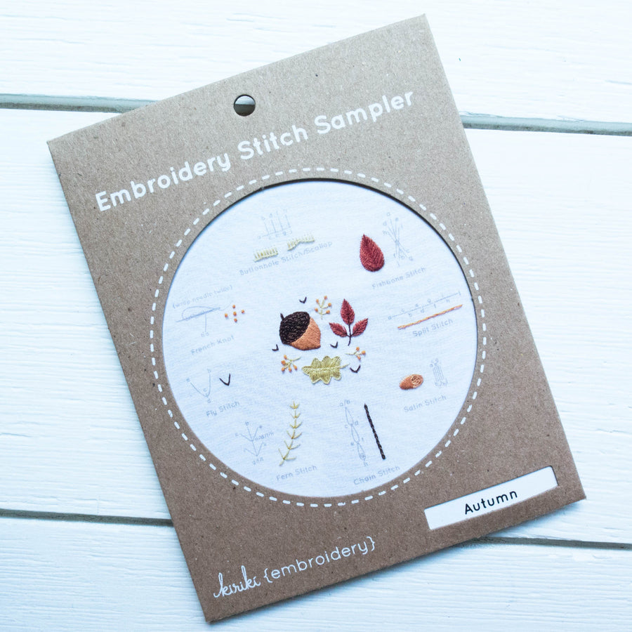 Kiriki Press Embroidery Stitch Sampler - Autumn Embroidery Kit - Snuggly Monkey