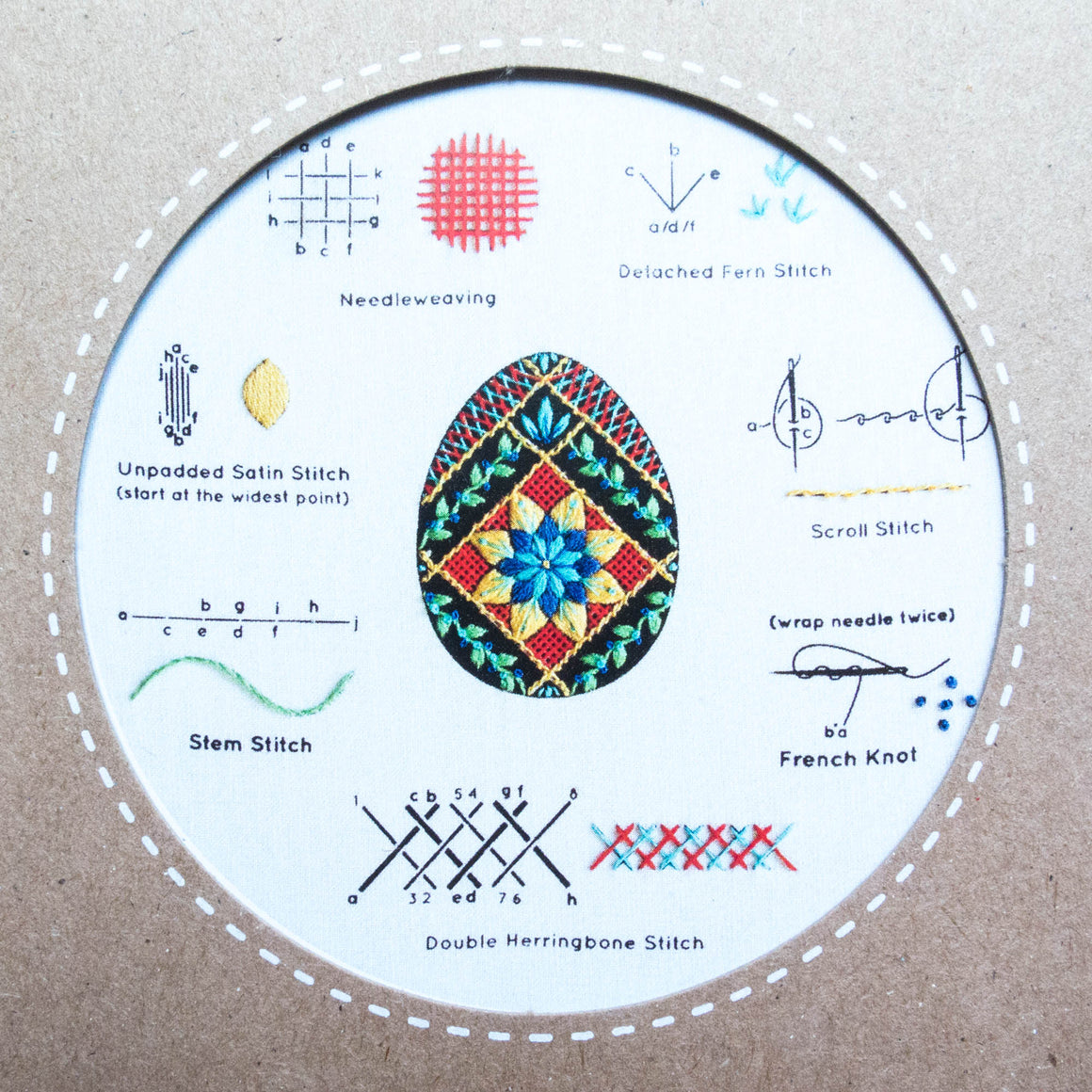Kiriki Press Embroidery Stitch Sampler - Pysanky Egg Embroidery Kit - Snuggly Monkey