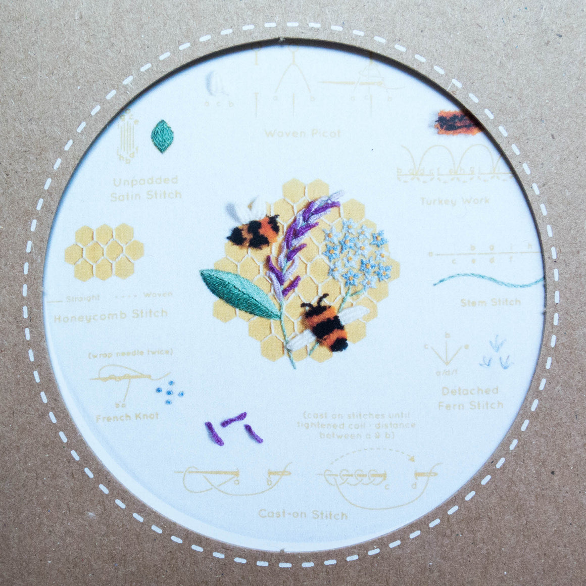 Kiriki Press Embroidery Stitch Sampler - Honeybees Embroidery Kit - Snuggly Monkey