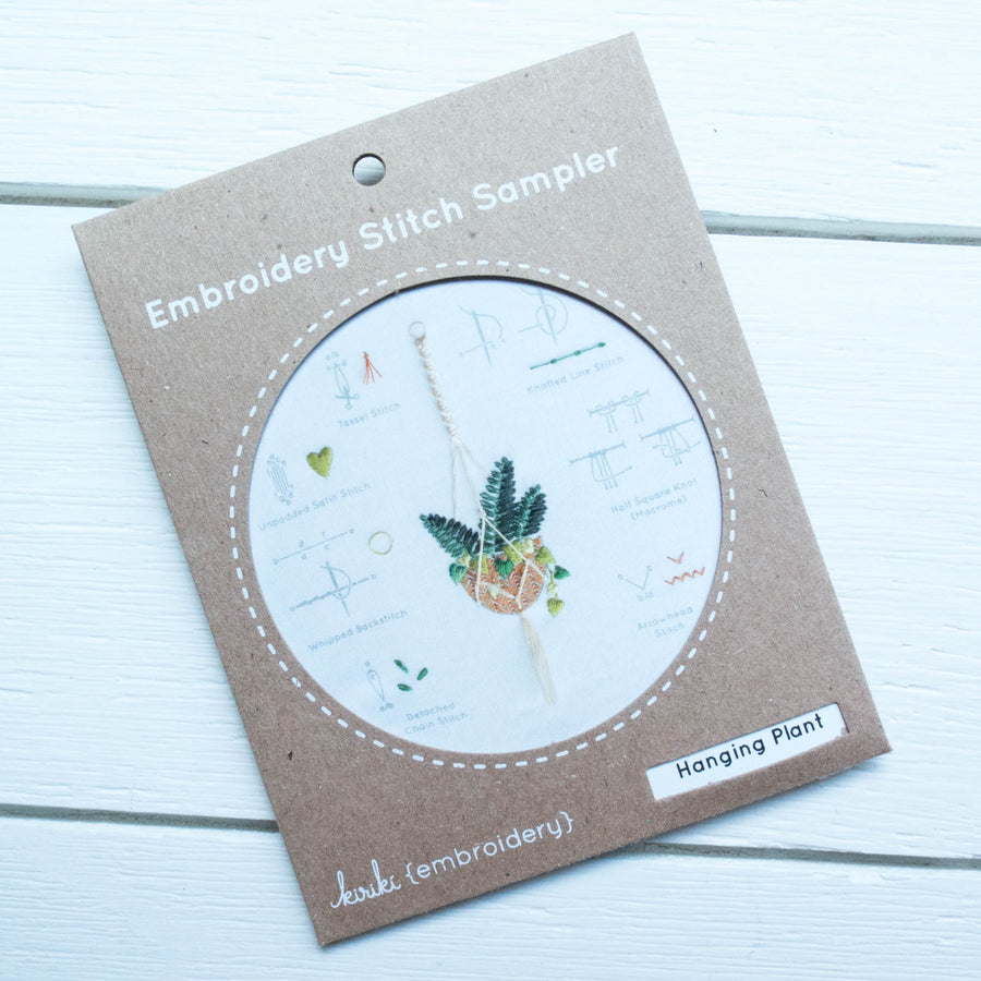 Kiriki Press Embroidery Stitch Sampler - Hanging Plant Embroidery Kit - Snuggly Monkey