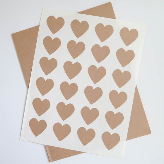 "1.5"" Heart Kraft Labels"