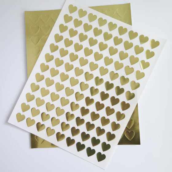 Mini Heart Gold Foil Labels