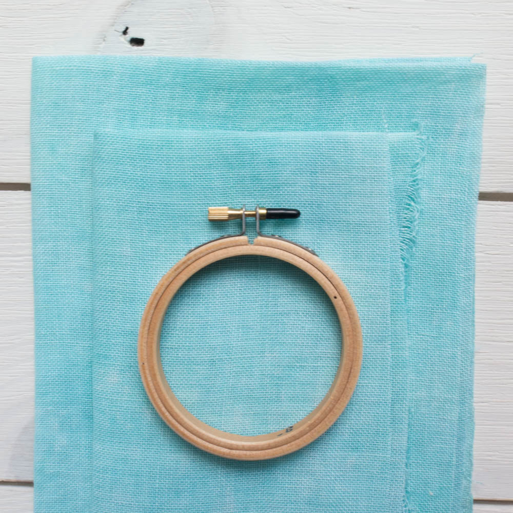 Caribbean Blue Hand Dyed Cashel Linen (28 ct) Fabric - Snuggly Monkey