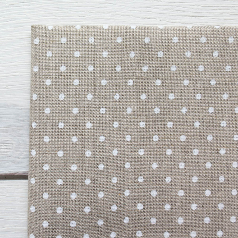 Polka Dot Cross Stitch Linen Fabric (32 count) Fabric - Snuggly Monkey
