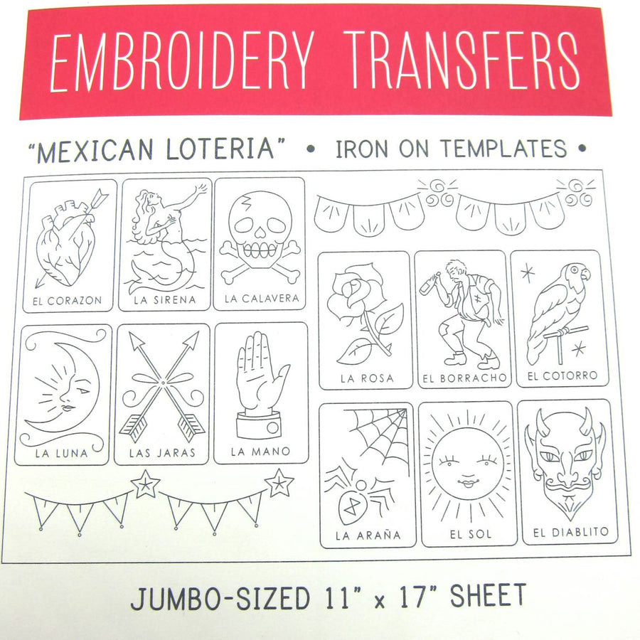 Big Sheet Mexican Loteria Embroidery Pattern Patterns - Snuggly Monkey