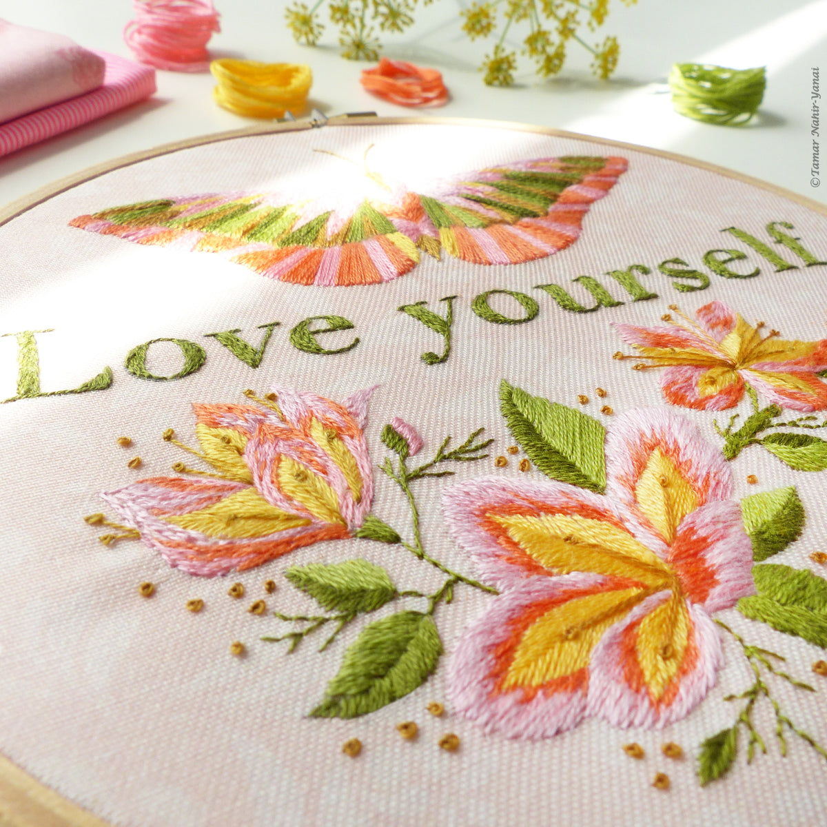"Embroidery Kit : 6"" Love Yourself by Tamar Nahir Embroidery Kit - Snuggly Monkey"