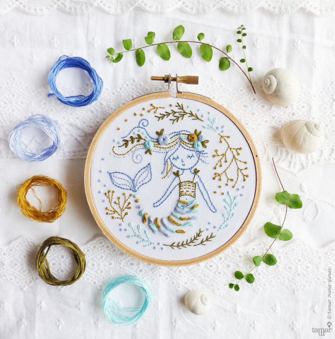 "Embroidery Kit : 4""Mermaid Dreams by Tamar Nahir Embroidery Kit - Snuggly Monkey"