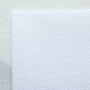 Aida Cross Stitch Fabric - Metallic White (14 ct) Fabric - Snuggly Monkey