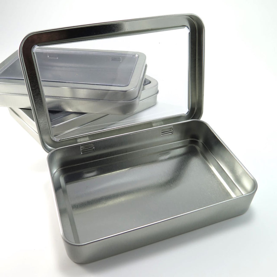 Large Rectangle Steel Tins with Window (5.25 inch) Boxes - Snuggly Monkey