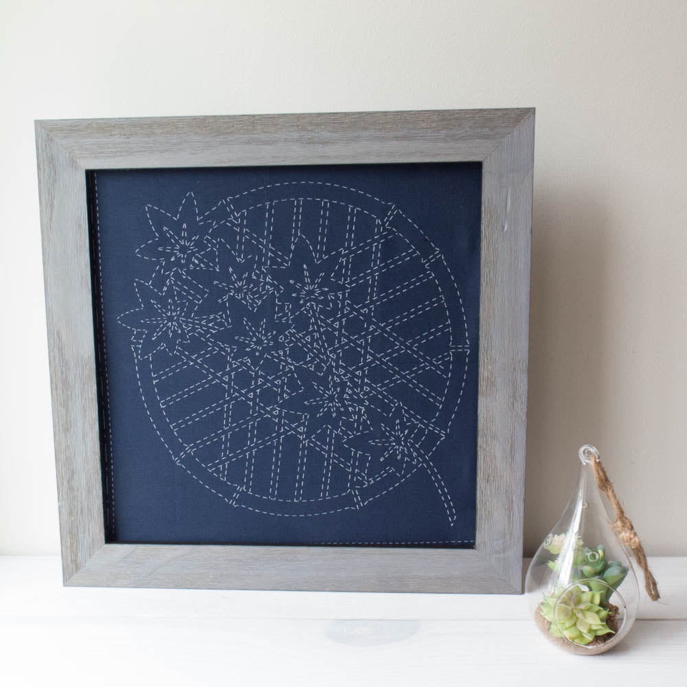 Momiji Sashiko Embroidery Sampler (Navy)