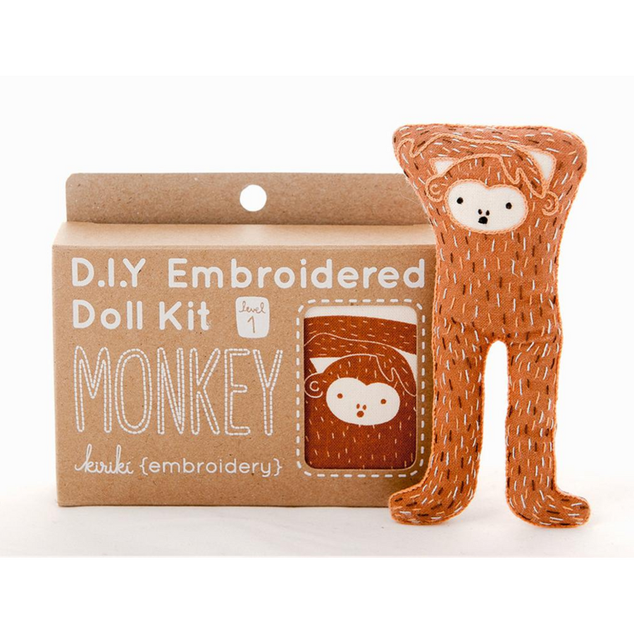 Monkey Plushie Embroidery Kit by Kiriki Press Embroidery Kit - Snuggly Monkey