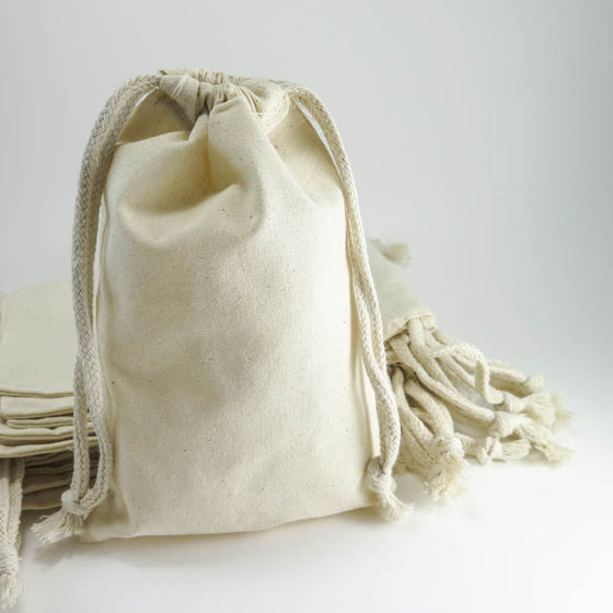 Large Cotton Muslin Bags - 5 by 8 inch Drawstring Cotton Pouches