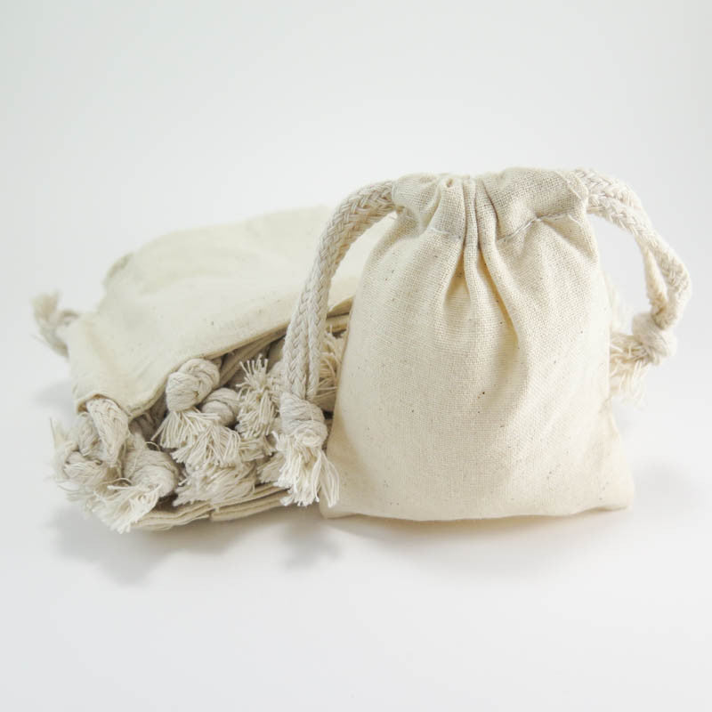 "Cotton Muslin Pouches - Small Drawstring Cotton Bags (3""x4"") Bags - Snuggly Monkey"