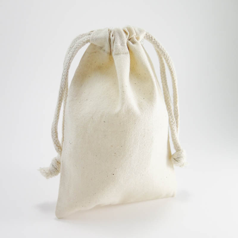 "Cotton Muslin Pouches | Medium Drawstring Cotton Bags (4""x 6"")"