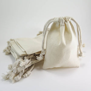 "Cotton Muslin Pouches | Medium Drawstring Cotton Bags (4""x 6"") Bags - Snuggly Monkey"