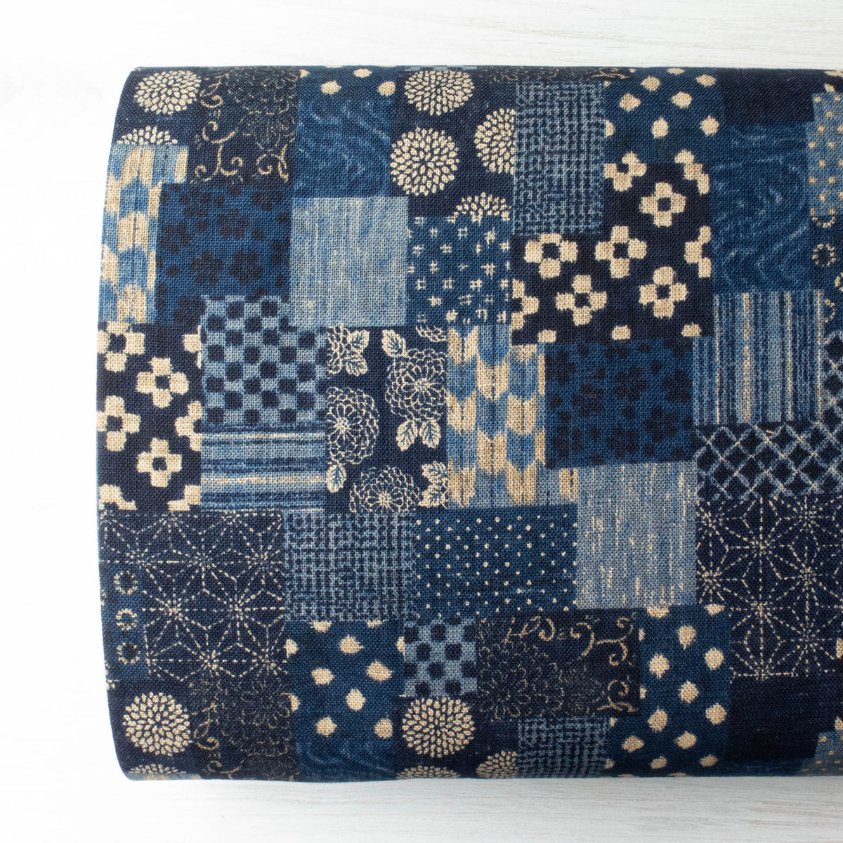 Sevenberry Nara Homespun :: Boro Panel Navy Fabric - Snuggly Monkey