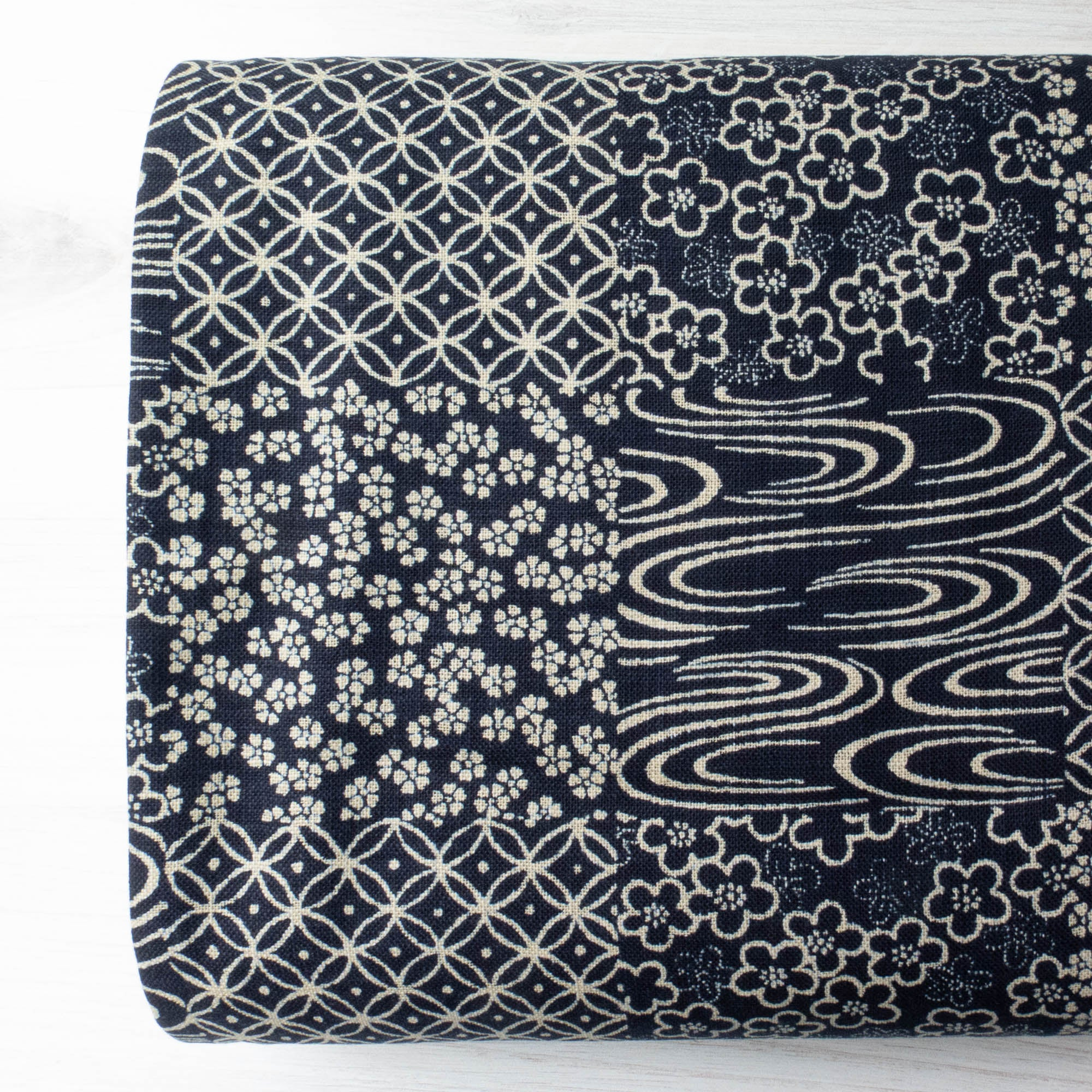 Sevenberry Nara Homespun :: Cheater Panel Navy Fabric - Snuggly Monkey