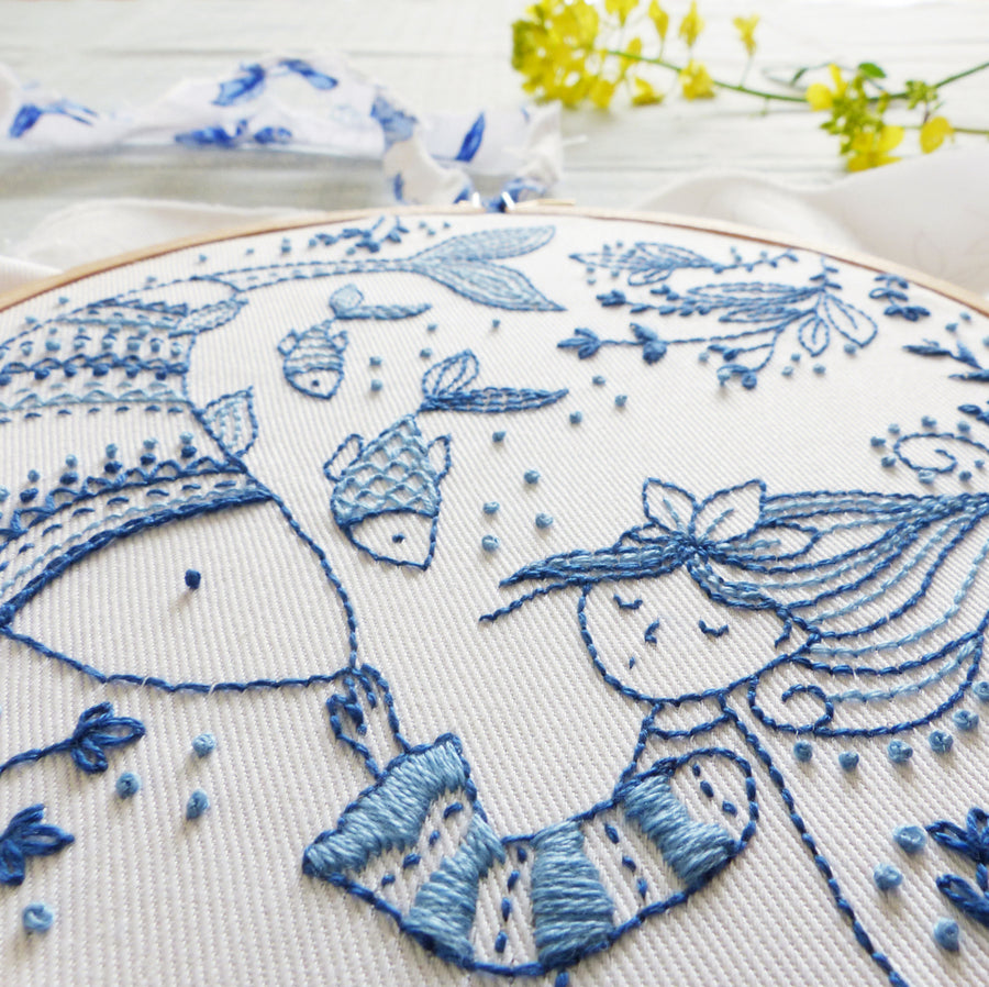 "Embroidery Kit : 6"" Ocean Princess by Tamar Nahir Embroidery Kit - Snuggly Monkey"