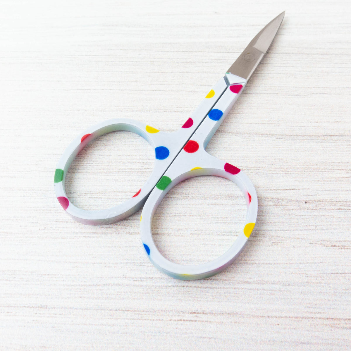 White Rainbow Polka Dot Embroidery Scissors Scissors - Snuggly Monkey