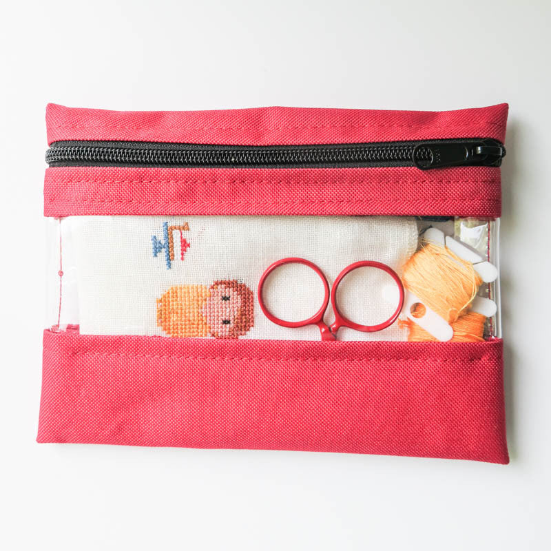 "6"" x 8"" Red Vinyl Project Bag Bags - Snuggly Monkey"