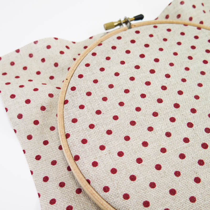 Red Polka Dot Cross Stitch Linen Fabric (32 count)