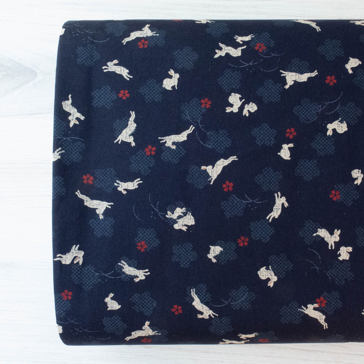 Sevenberry Kasuri : Bunnies on Navy Fabric - Snuggly Monkey