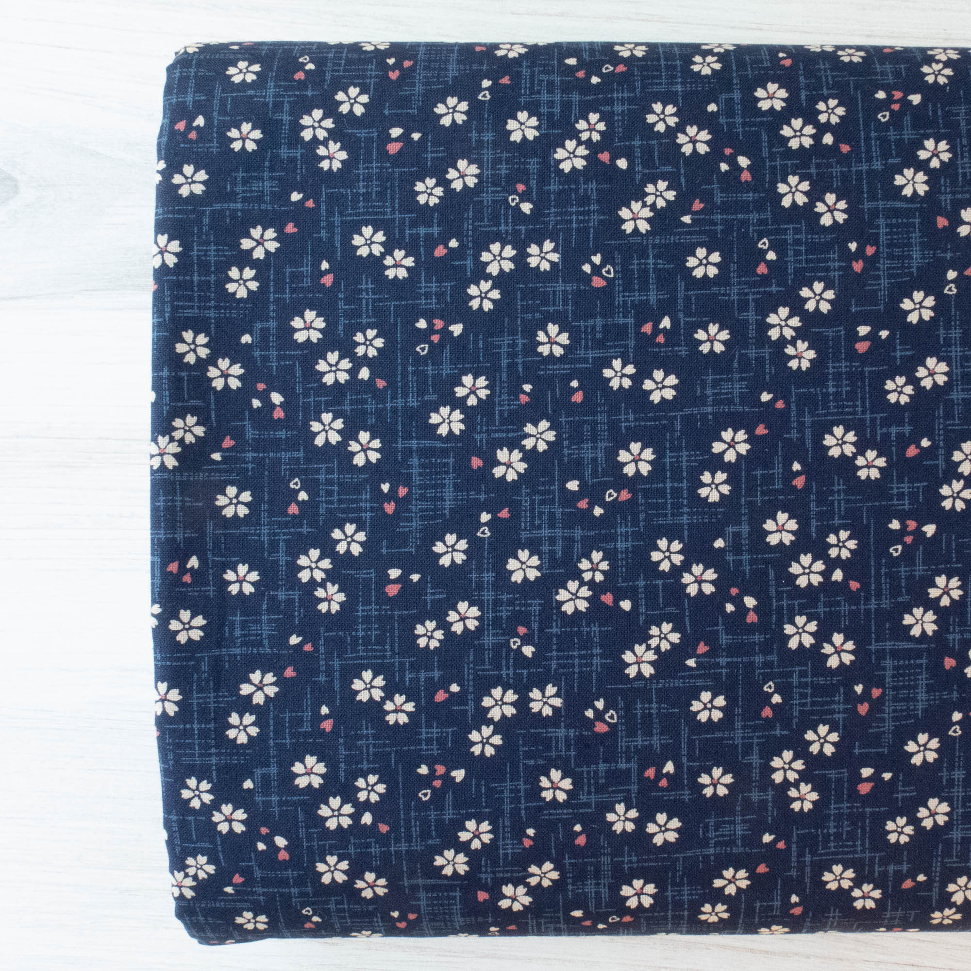 Sevenberry Kasuri : Mini Cherry Blossoms on Navy Fabric - Snuggly Monkey