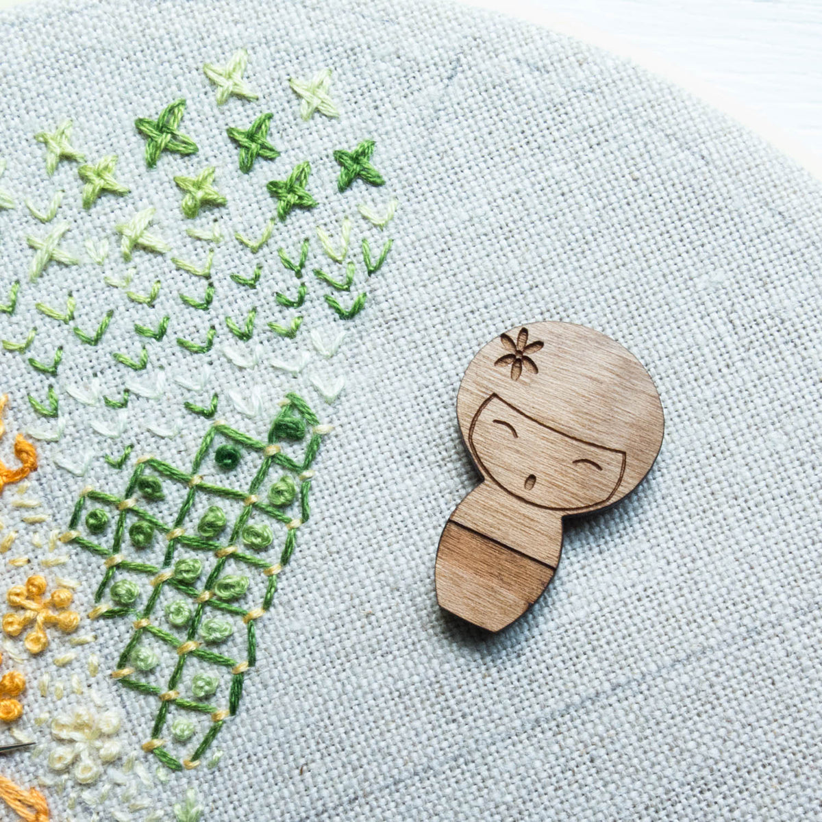 Wood Needle Minder - Kokeshi Doll Needle Minder - Snuggly Monkey