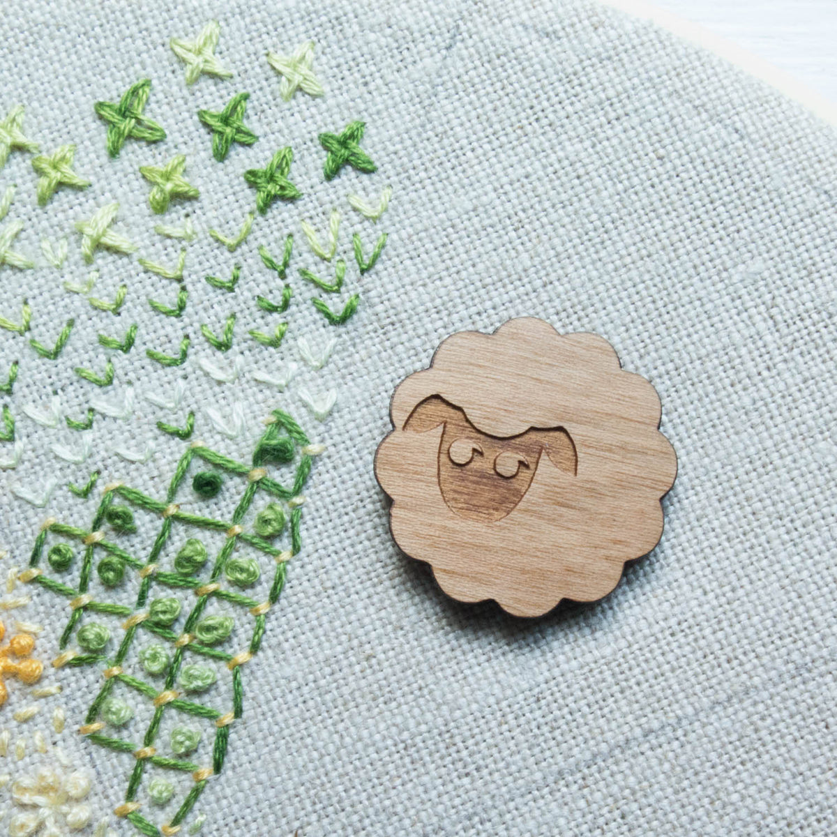Wood Needle Minder -Sheep Needle Minder - Snuggly Monkey