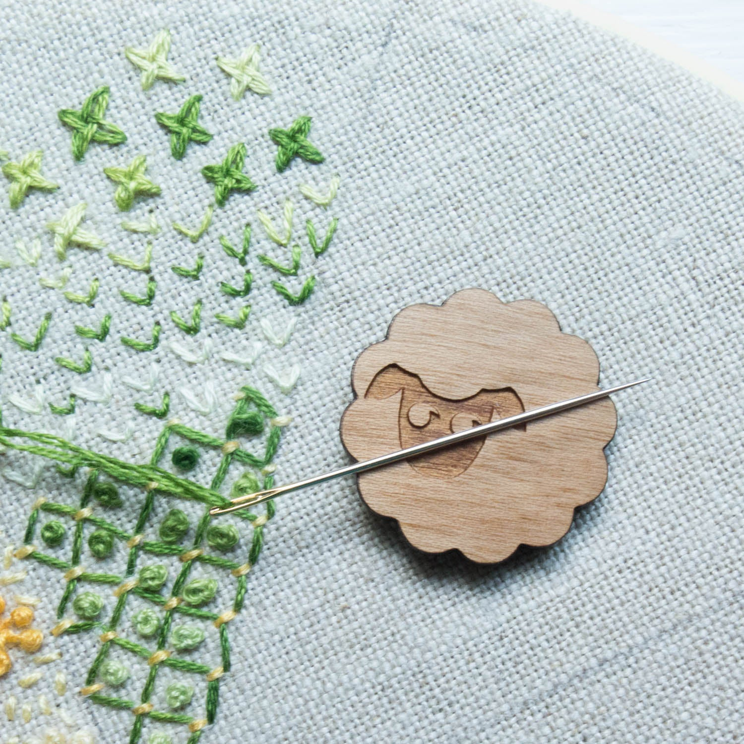 Happy Little Accidents Wooden Needle Minder