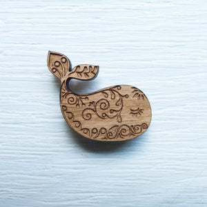 Wood Needle Minder - Whimsical Whale