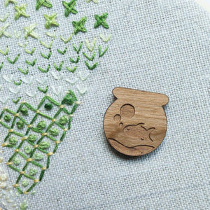 Wood Needle Minder - Fish Bowl Needle Minder - Snuggly Monkey