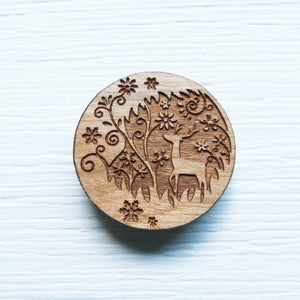 Wood Needle Minder - Forest Deer Needle Minder - Snuggly Monkey