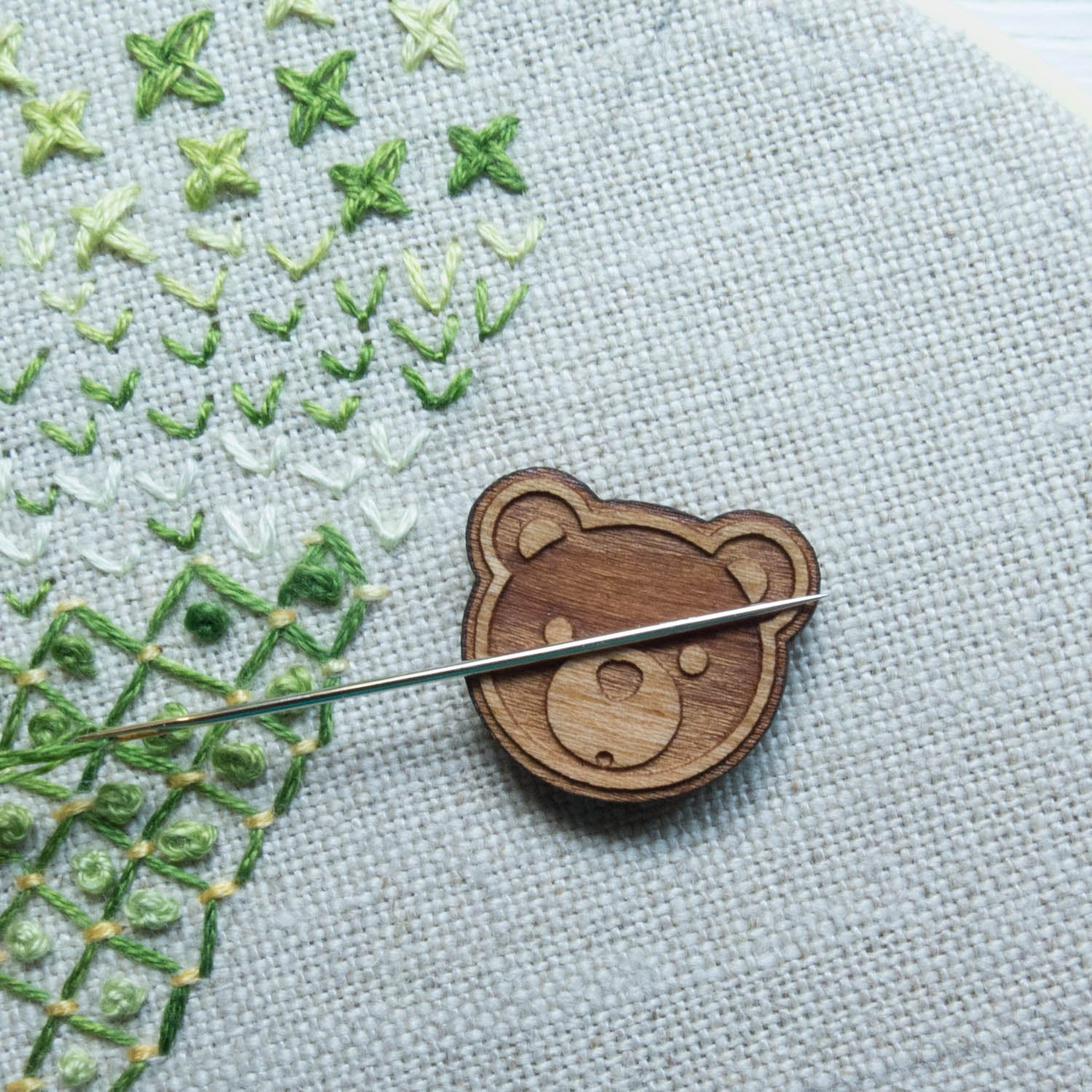 Pink Bear Needle Minder For Cross Stitch// Embroidery